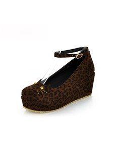 Sexy Leopard Suede Upper Wedge Heels Women Shoes