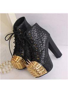 Sexy Platform Stiletto Heels Metal Rivet Women's Ankle Boots