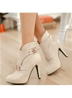 Sexy Point-Toe Buckle Ankle Boots