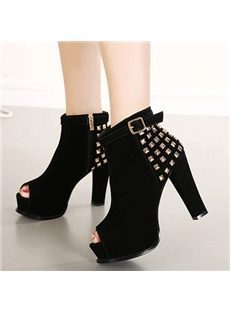 Sexy Rivets Chunky Heels Peep-Toe Ankle Boots