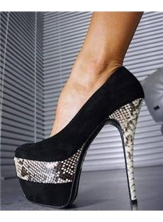 Sexy Snake Skin Color Platform Heels