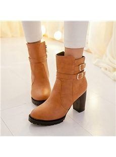 Shapely Chunky Heels Ankle Boots