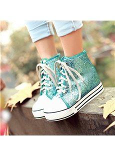 Shining Paillette Lace-Up Canvas Shoes