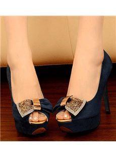 Shining Rhinestone Bowtie Peep-toe Platform Stiletto Heels