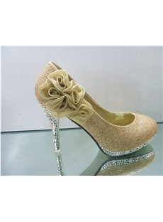 Shinning Golden PU Upper Stiletto Heels Closed-toes Wedding Bridal Shoes