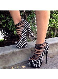 Shocking Contrast Color Satin Cut-Outs Dress Sandals