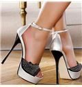 Silver Black Contrast Colour Coppy Leather Rhinestone Ankle Strap High Heel Shoes