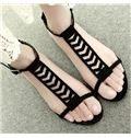Simple Black Nubuck Cut-Outs Flat Sandals