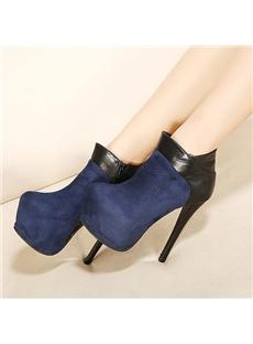 Simple Contrast Color Platform Ankle Boots