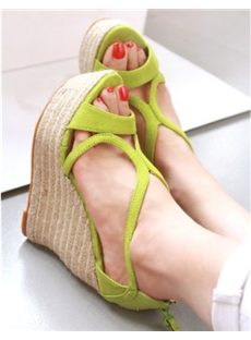 Simple Cut-Outs Suede Wedge Sandals