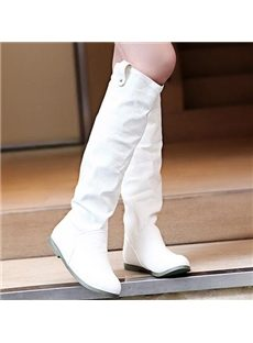 Simple Knee High Flat Boots