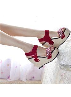 Simple PU Rhinestone Wedge Sandals