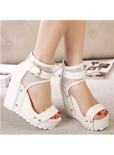 Simple Solid Color Ankle Wrap Wedge Sandals