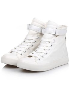 Simple Solid Color High-Top Canvas Shoes