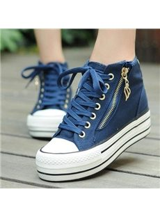 Slid Color High-top Canvas Shoes with zipper