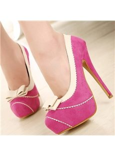Solid Color Bowknot Closed-Toe Stiletto Heels