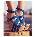 Sophisticated Cloth Rivets Wedge Sandals