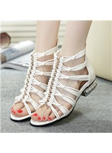 Sophisticated Contrast Color PU Cut-Outs Flat Sandals