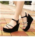 Sparkling Beading Suede Wedge Sandals