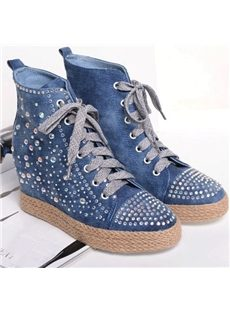 Sparkling Rhinestone Canvas Shoes With Inside Heels