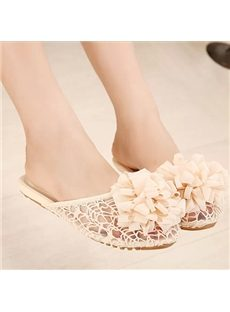 Spectacular Solid Color Lace Flower Slippers