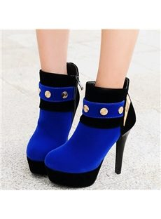Stunning Contrast Color Rivets Ankle Boots