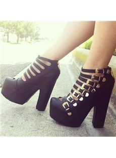 Stylish Belt Buckles Chunky Ankle Boots