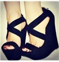 Stylish Black Suede Cut-Outs Wedge Heel Sandals
