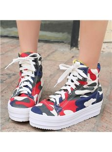 Stylish Camouflage High-Top Canvas Shoes
