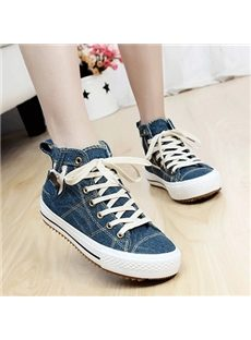 Stylish Contrast Color Lace-Up Canvas Shoes