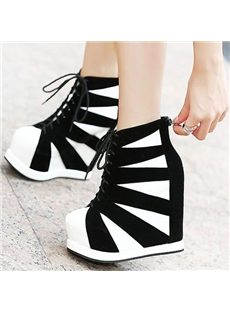 Stylish Contrast Color  Stripes Lace-up High Heels Boots