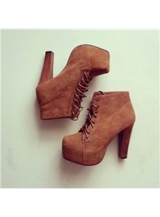 Stylish Lace-Up Chunky Ankle Boots