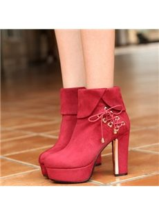 Stylish Lace-Up Chunky Heels Ankle Boots