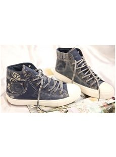 Stylish Lace-Up High-Top Canvas Shoes