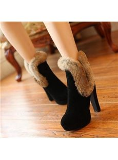 Stylish Rabbit Hair Chunky Ankle Boots