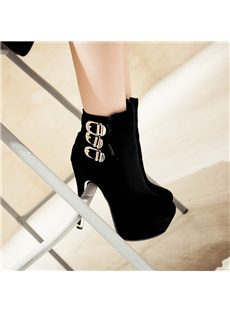 Stylish Stiletto Heel Ankle Boots with Buckles