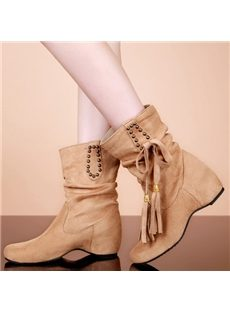 Stylish Tassel Mid-Calf Boots with Inside Heels