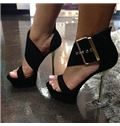 Suede Buckle Dress Sandals