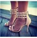 Suede Rivets Ankle Strap Dress Sandals