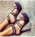 Sumptuous Contrast Colour Metal Platform Sandals