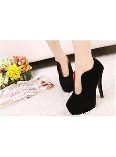Superfine Black Round-toe Platform Stiletto Heels