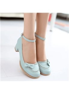 Sweet Bowknot Ankle Strap Low Chunky Heels
