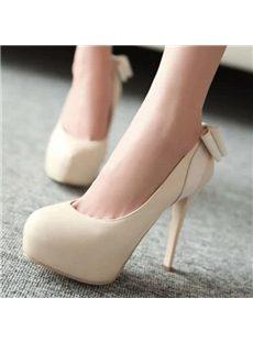 Sweet Bowknot Round-toe Platform Heels