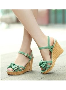 Sweet Bowknot Wedge Sandals