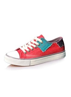 Sweet Color Block Low-cut All-matched Womens Canvas Shoes