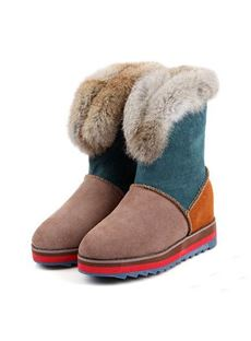 Sweet Fashionable Contrast Color Comfortable Snow Boots
