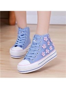 Sweet Flower Print Canvas Shoes with Platform