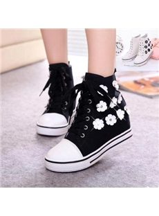 Sweet Flower Print High-top Canvas Shoes