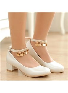 Sweet Girl Round Toe Sequin Low Chunky Heels