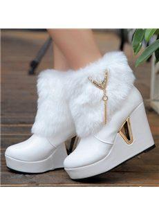 Sweet Girl Wedge Heels Boots with Metal